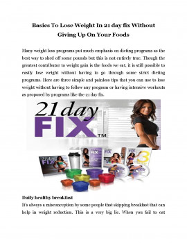 Basics To Lose Weight In 21 day fix Without  Giving Up On Your Foods