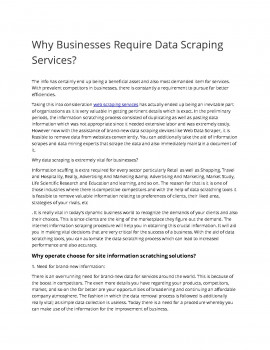 Why Businesses Require Data Scraping Services?